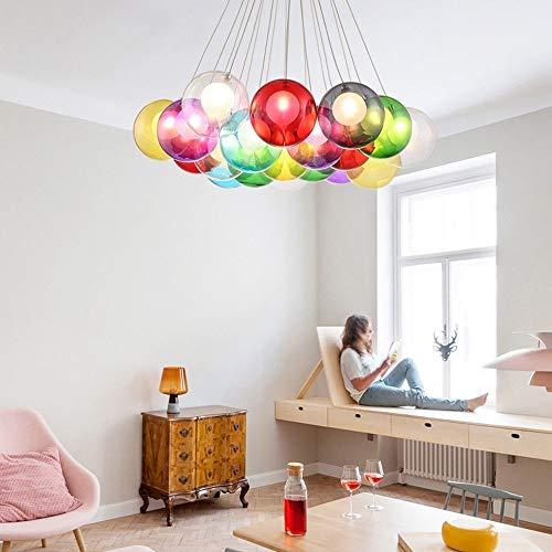 BDS lighting 15 Lustre en Boule de Verre pour Chambre d'enfants Chambre Salon Restaurant Pendentif Lumière Bubble Light Magasin de vêtements Chandelier LED (Couleur : Multicolore)
