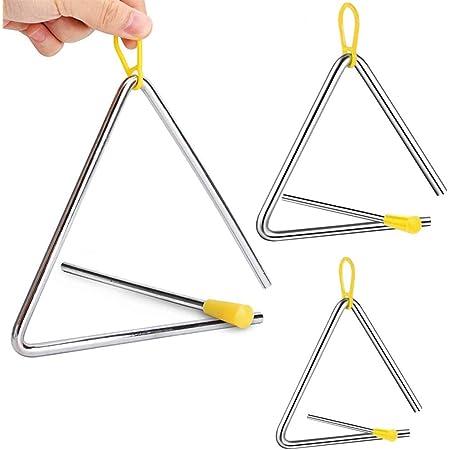 3 Piezas Instrumento Triangular, Triangulo Percusion Instrumentos, Triángulos para Instrumentos Percusión, 4/5/6 Pulgadas Triángulo Musical para Niños, Escuelas, Juguetes Educación Temprana