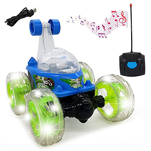 BlackZone Remote Control Rechargable Acrobatic 360 Degree Twisting Stunt Car with Music & Lights and Charger for Kids 3 4 5 6 7 8-12 Year Old Boy Toys Birthday Gifts Multicolor