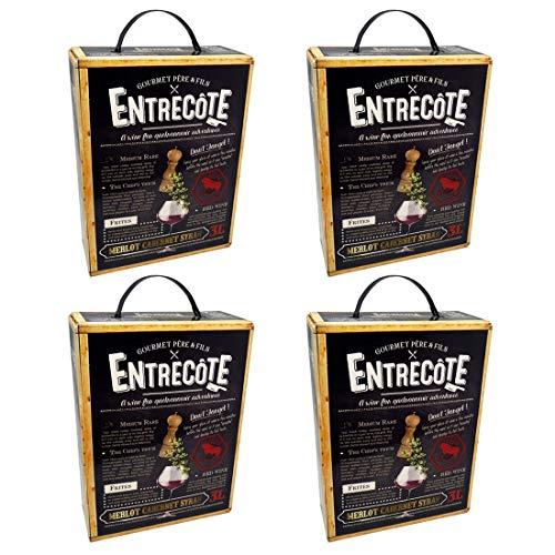 Bag-in-Box - 2019 Merlot Cabernet Syrah - ENTRECOTE - Frankreich - Rotwein, lieblich, Box mit:4 Boxen