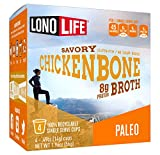 LonoLife Chicken Bone Broth Powder with 8g Protein, Paleo and Keto Friendly, Single Serve Cups, 24 Count