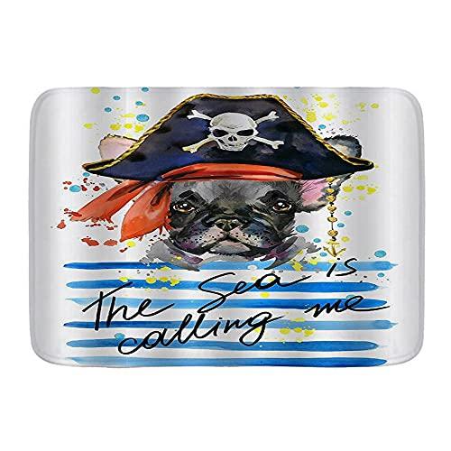 DECISAIYA Antiscivolo Zerbino,Pet tema acquerello pirata Bulldog francese Artassorbe l'acqua Morbido tappeti da esterno Tappetino per Ingresso, Bagno, Cucina,45x75cm
