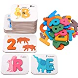 coogam alphabets and numbers flash cards, wooden letters abc animal matching puzzle colors sorting