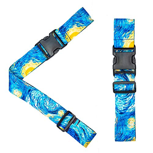 LIZIMANDU Luggage Straps.Adjustable Suitcase Straps Lockable Travel Accessories.TSA Compliant.1 Luggage Strap & 1 Add A Bag Strap. 2-Piece Set(Starry Sky)