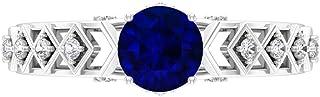 Anillo de compromiso con filigrana, anillo solitario de 6 mm, anillo de moissanita D-VSSI, oro blanco de 14 quilates