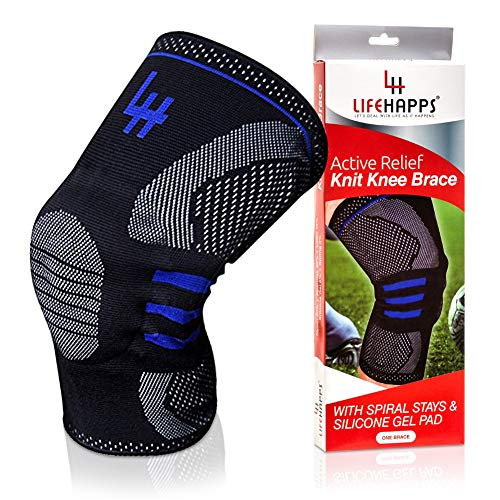 Lifehapps Active Relief Knee Brace Gel Knee Support and Compression Sleeve with Side Stabilizers for Arthritis Joint Pain, Meniscus Tears, ACL, MCL Injuries, Exercise, Running (Black, Medium)