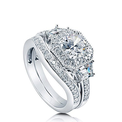 BERRICLE Rhodium Plated Sterling Silver Round Cubic Zirconia CZ Art Deco Halo Engagement Wedding Ring Set 2.21 CTW Size 6.5