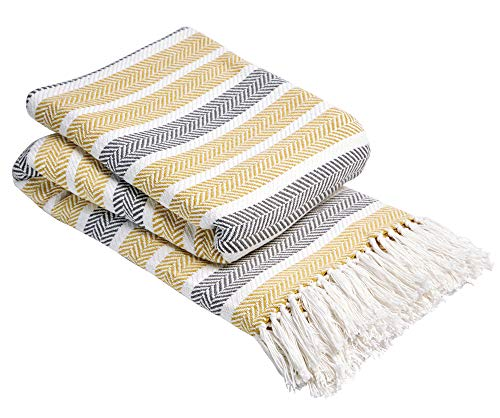 dl Zara 100% Cotton Woven Sofa Bed Settee Chair Throw Cover Herringbone Bedspread Large Blanket 178 x 254 cm (70' x 100'), Ochre