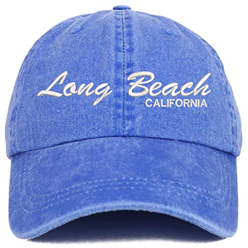 Long Beach California Script Embroidered Low Profile Unstructured Pigment Dyed Unisex Baseball Dad Hat Royal