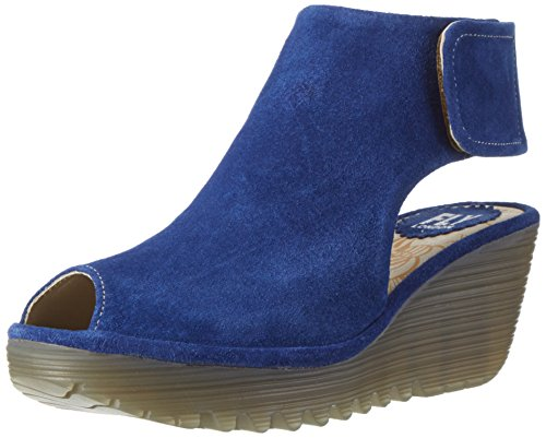 FLY London Womens Yone Peep Toe Suede Holiday Shoes Summer Wedge Heels - Blue - 7