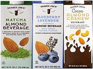 Trader Joes Flavored Almond Milk Beverage Trio: Matcha Almond Beverage, Blueberry Lavender Flavored Almond Beverage, Cocoa Almond Cashew Beverage