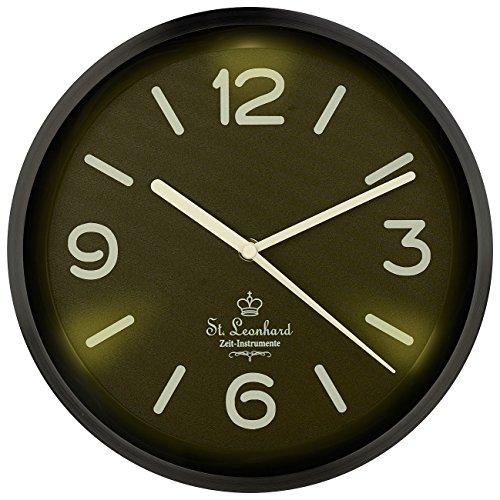 St. Leonhard Beleuchtete Uhr: Edelstahl-Funk-Wanduhr, Zifferblatt-Beleuchtung & Lichtsensor, schwarz (Wanduhr Beleuchtetes Ziffernblatt)