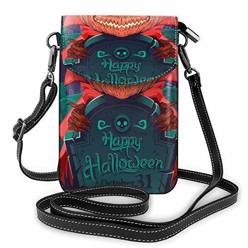 Generic Jack O' Laterne in einem roten Mantel für Halloween auf dem Friedhof Kleine Crossbody-Tasche Handtasche – Frauen PU-Leder Handtasche mit verstellbarem Riemen für den Alltag