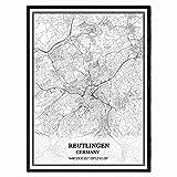 Reutlingen Deutschland Karte Wandkunst Leinwand drucken
