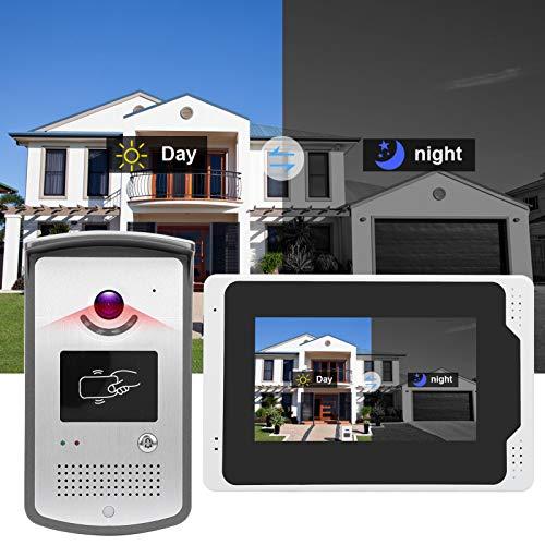 Timbre del intercomunicador Videoportero, Impermeable 110 ° Granangular 7in Control táctil del timbre con video para el hogar para el apartamento(Transl)