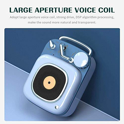YPSMLYY Tragbarer Retro-Funklautsprecher Creative BT Bluetooth-Lautsprecher Im Atomic-Plattenspieler-Stil Mini-Subwoofer-Musik-Player,Blue