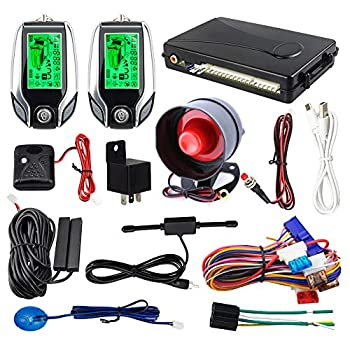 EASYGUARD EC204 2 Way car Alarm System with PKE Passive keyless Entry Rechargeable LCD Pager Display & Remote Trunk Release Shock Warning DC12V