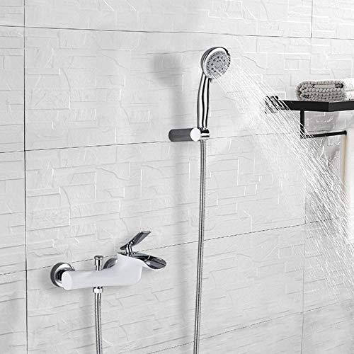 Mezclador de grifo de bañera de cromo blanco estilo moderno con rociador de 5 funciones Ducha de mano Boquilla de chorro de agua Agua fría y caliente