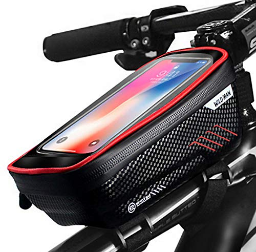 PROZADA Wildman Frame Bicycle Bag Waterproof,Top Tube Bike Cell Phone Holder Bicycle Frame Bags Sensitive touch Screen up to 6.5 inches, Large Storage Space for Mountain Bike (Red)