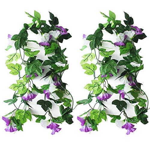 KingYH 2 Pack 210cm Artificial Flower Garlands Fake Silk Morning Glory Hanging Garland Simulation Climbing Plants Vine Rattan for Garden Home Party Wedding Decor Wall Stair Balcony Patio Fences-Purple