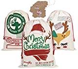 PIXHOTUL 3 Pezzi Sacchi di Babbo Natale Borsa Natalizia in Cotone Sacco Regalo di Natale con Coulisse Grande 70 x 50 cm (Modello D)