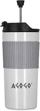 AGOGO Travel Coffee Maker Portable French Press Stainless Steel Coffee and Tea Mug White 12oz (White)