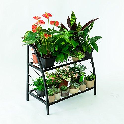 C-Hopetree Pflanzenständer für den Innen- und Außenbereich, Regal, für Terrasse oder Garage, mit schwarzem Metallrahmen