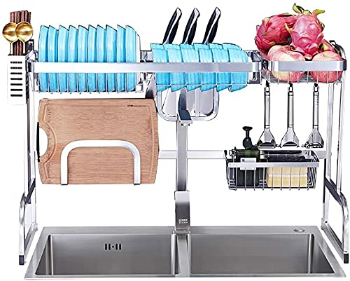 KMILE Dish Rack Over Sink Dish Drying Rack Kitchen Stainless Steel Over The Sink, Colture Kitchen Drainer Counter Organizer Supplies Shelf Storage Display Utensil Holder Space Saver - Silver