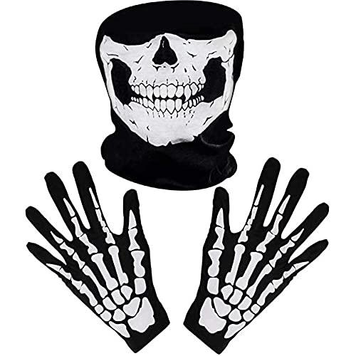 1 Set Guantes Esqueleto Y Mscara Crneo Halloween Skeleton Guantes Skull Face Mask Cosplay Disfraz Horror Hueso Hueso Hueso Skull Manople