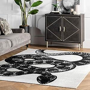 nuLOOM Thomas Paul Serpent Area Rug, 5′ x 8′, Black & White
