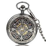 Reloj de Bolsillo - Caja Reloj Fob de Bolsillo Mecánico Esfera Negra Nudo Celta Hueco con Bolsa de Regalo
