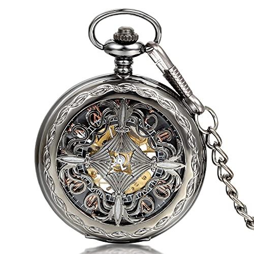 Reloj de Bolsillo - Caja Reloj Fob de Bolsillo Mecánico Esfera Negra...