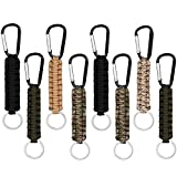Paracord Keychain with Carabiner Military Braided Lanyard Utility Survival Lanyard , Set of 8 Braided Lanyard Utility Ring Hook