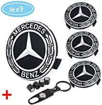 Fubai Auto Parts 4 Pack for Benz Wheel Center Caps Emblem-Black, 75mm Benz Rim Hub Cover Logo + 4 Pack Valve Covers Fit for Mercedes Benz All Models Benz Emblem