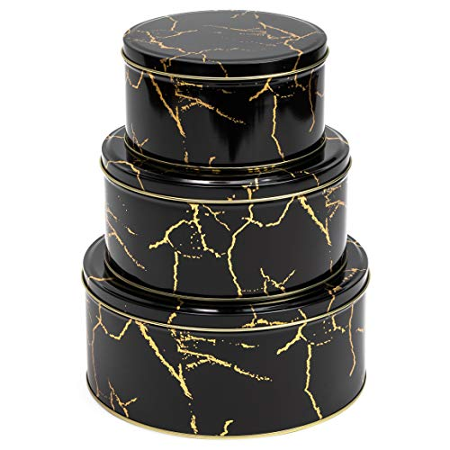 Juvale Black Marble Metal Tins with Lids, Kitchen Canisters (3 Sizes, 3 Pack)
