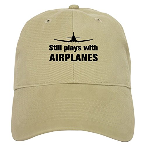 CafePress Still Plays with Airplanes Co Baseball Cap with Adjustable Closure, Unique Printed Baseball Hat Khaki