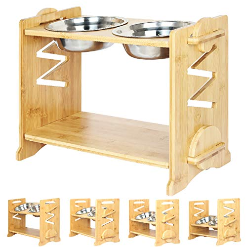 SHUNAI Adjustable Raised Pet Bowls for Cats and Dogs with 2 Stainless Bowls , 5 Heights Bamboo Elevated Stand Pet Feeder with Storage Shelf
