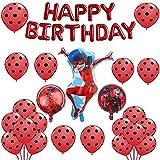 Decoraciones de Fiesta Ladybug Theme Party Decoration Set Ladybug Game Suministros de Fiesta Incluye Banner de Feliz Cumpleaños Globos Cake Topper para Niños Adolescentes Ladybug Fans