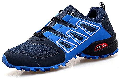 CAGAYA Zapatillas de Senderismo Hombre Trekking Zapatillas Antideslizante Aire Libre Calzado Deportivo Zapatillas de Trail Running Hombre (43, Azul)