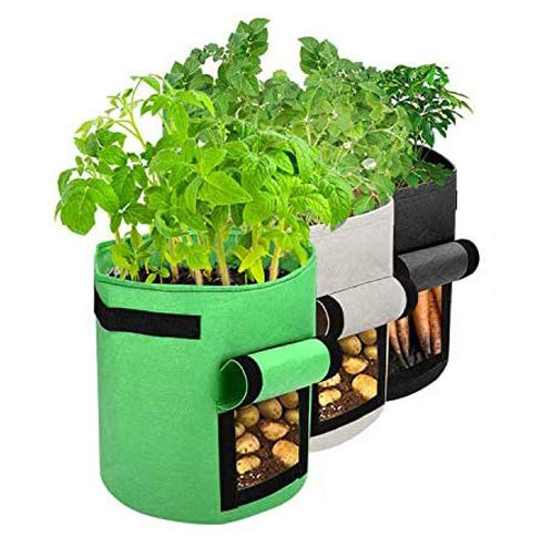 Potato Grow Bags 3 Pack 7 Gallon Planting Pouch Thickened Plant Growing Bag Garden Vegetables Planter Container with Handles & Velcro Window