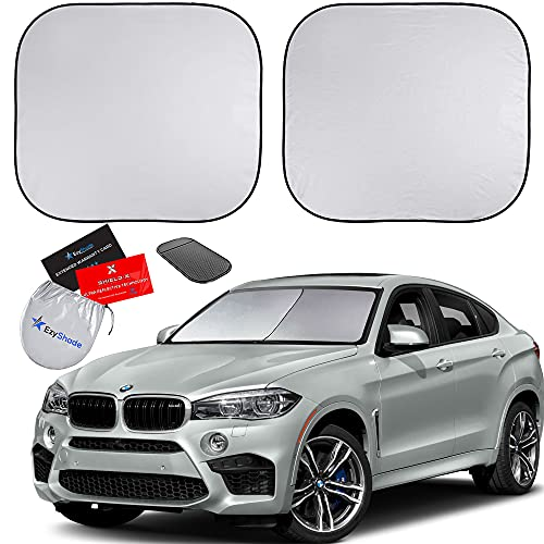 EzyShade Windshield Sun Shade + Extra Item. See Size-Chart with Your Vehicle (Easy-Read). Foldable 2-Piece Car Sunshades Reflect and Protect Your Vehicle from UV Sun and Heat. Standard (Medium) Size