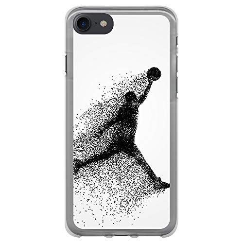 BJJ SHOP Funda Transparente para [ iPhone 7 / iPhone 8 ], Carcasa de Silicona Flexible TPU, diseño : Jugador de Baloncesto Abstracto Saltando