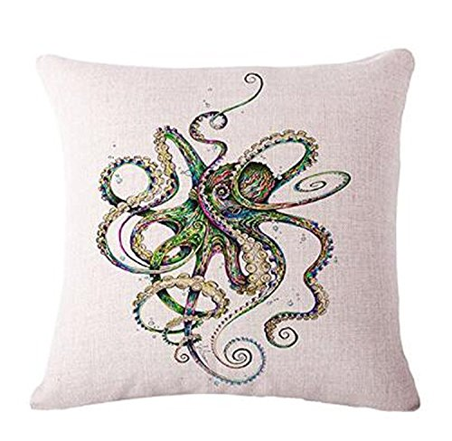 The Animal Abstract watercolor painting octopus Throw Pillow Case Cushion Cover Decorative Cotton Blend Linen Pillowcase for Sofa 18'X 18' (3)