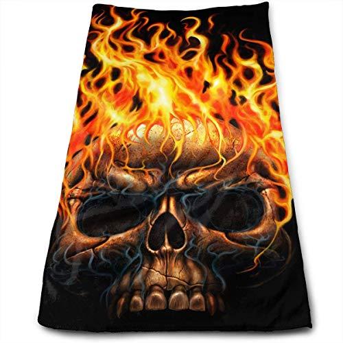 Calavera llama fuego máxima suavidad absorbente impreso toalla de baño toalla de mano toalla de pelo 30 cm * 70 cm