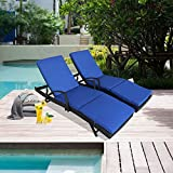Patio Rattan Armed Lounge Chair Outdoor Wicker Garden Furniture Black Beach Swimming Pool Use Sunbed 2 Chairs and 2 Cushions and Covers (Royal Blue)