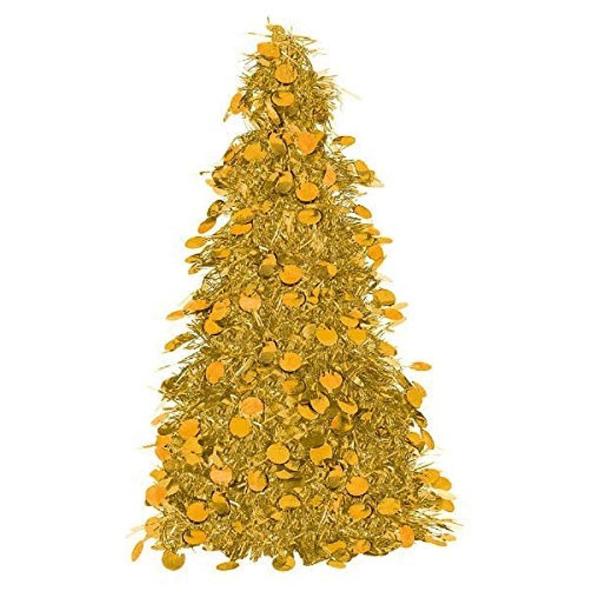 オーストラリア人素晴らしい良い多くの二Amscan Christmas Centerpiece Small Tree, 10', Tinsel, Gold [並行輸入品]
