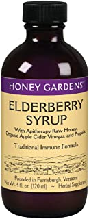 Honey Gardens Elderberry Syrup w/Apitherapy Raw Honey, Propolis & Elderberries | Immune Formula | 24 Serv | 4 fl. oz.