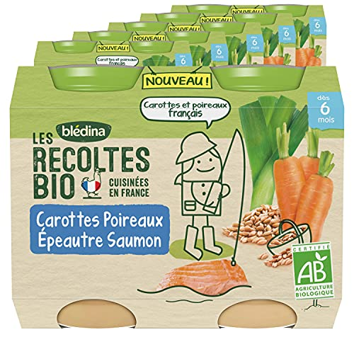 Blédina Les Récoltes Bio, Petits pots bébé Bio dès 6 Mois, Carottes Poireaux Epeautre Saumon, 2x200g (Packx6)
