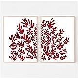 Cuadros de Pared 40x50cm 2 Piezas SIN Marco Recorte Inspirado en Matisse Exposición roja Imágenes Impresas Hojas de Coral Pintura en Lienzo para la decoración del hogar de la Sala de Estar