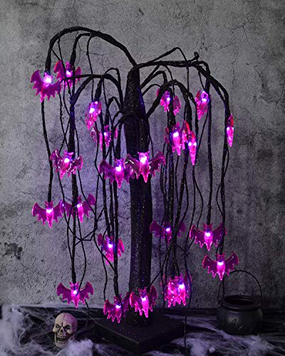 ALLADINBOX 18Inch Halloween Willow Tree LED Spooky Bonsai Night Light,24 LED Bat Lights, Battery Powered for Home, Festival, Nativity, Party, and Halloween Witch Decoration,Purple